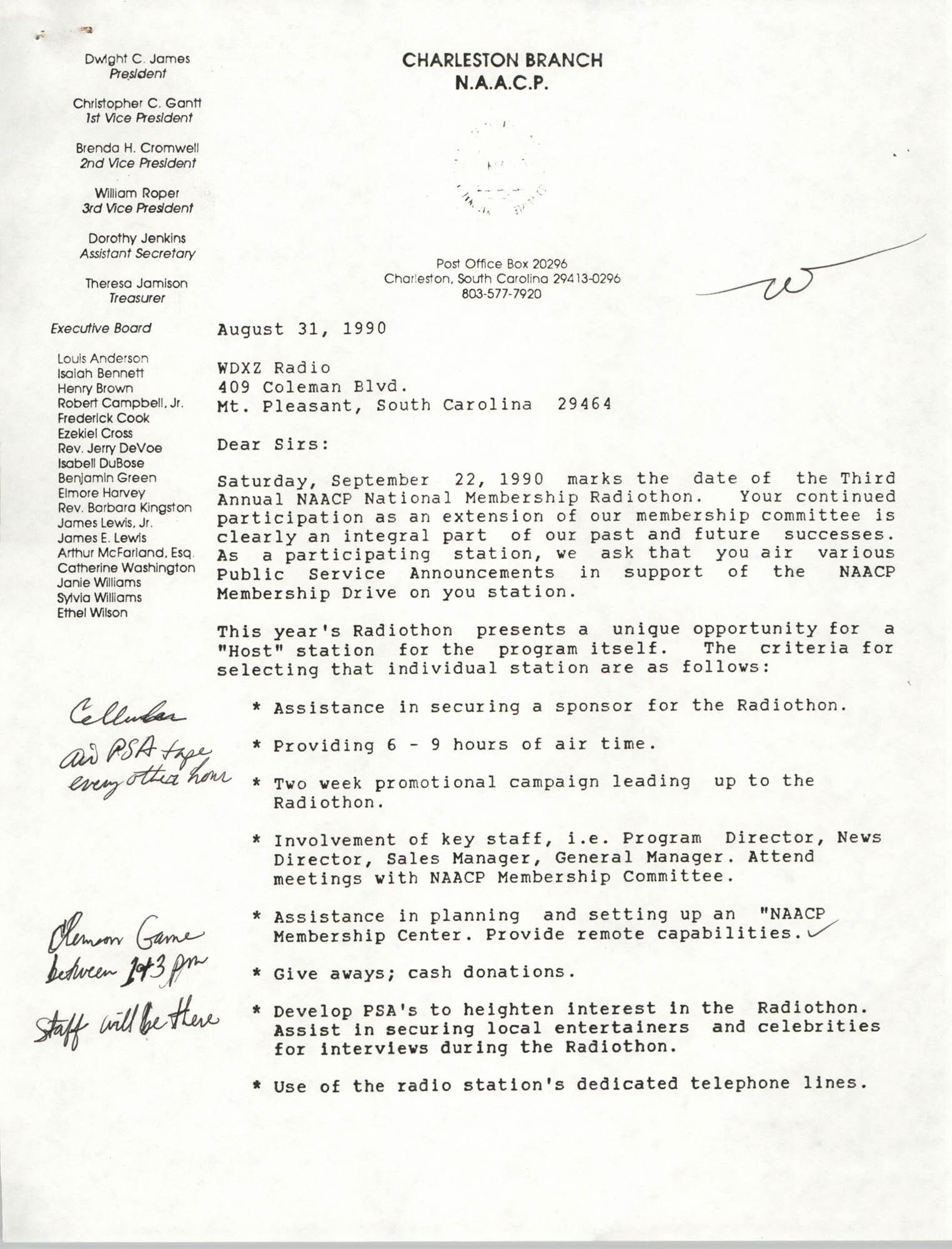 Letter from Hilda D. Gadsden to WDXZ Radio, August 31, 1990