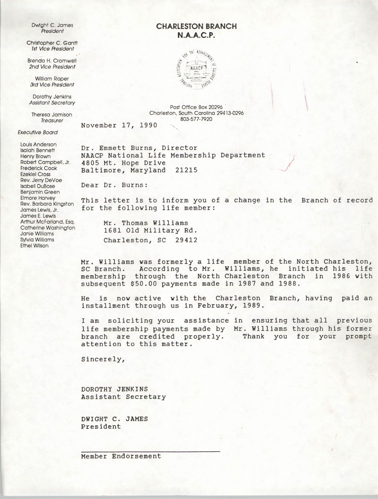 Letter from Dorothy Jenkins to Dr Emmett Burns, November 17, 1990