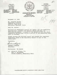 Letter from Barbara Kingston to Isazetta Spikes, November 12, 1991