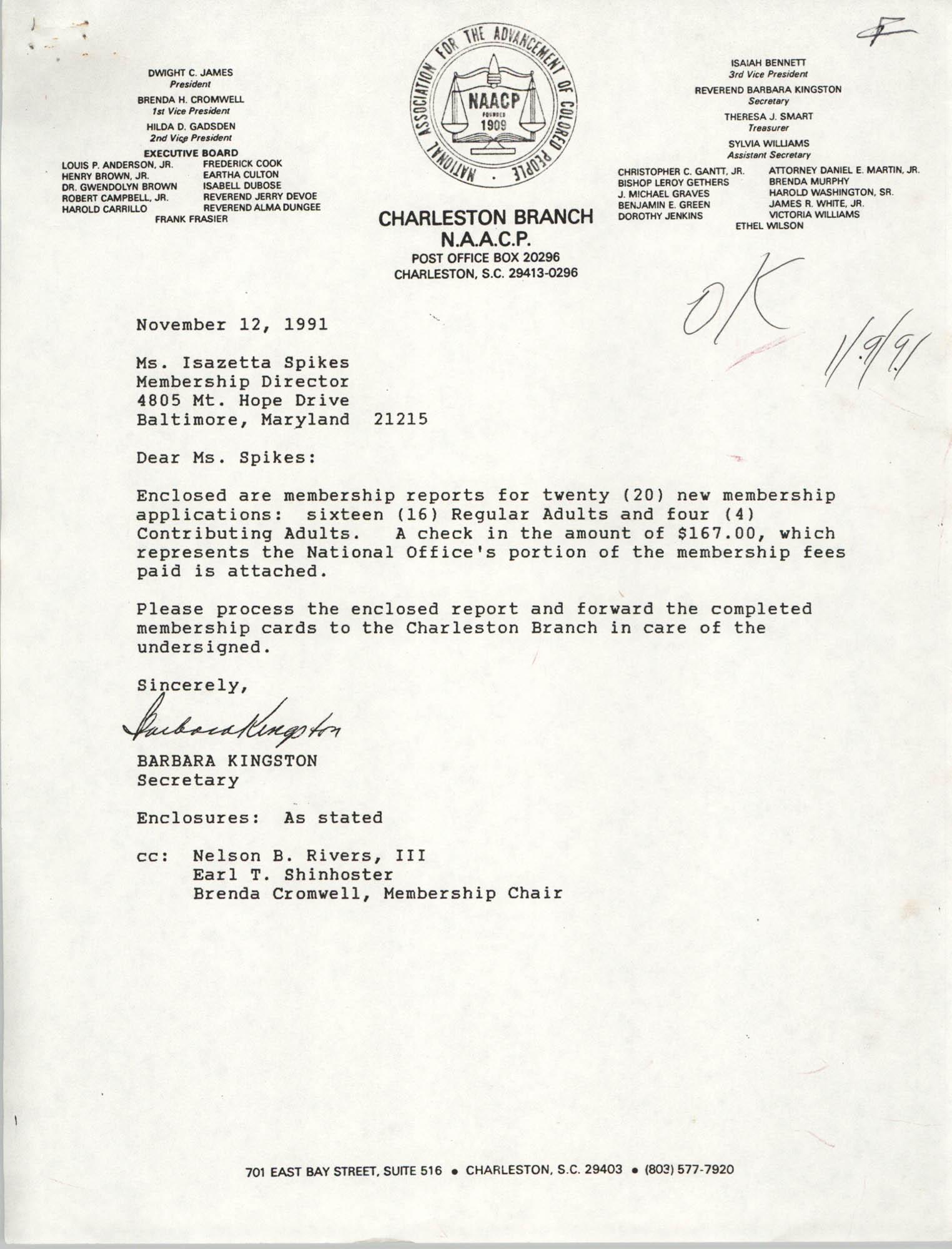 Letter from Barbara Kingston to Isazetta Spikes, November 12, 1991