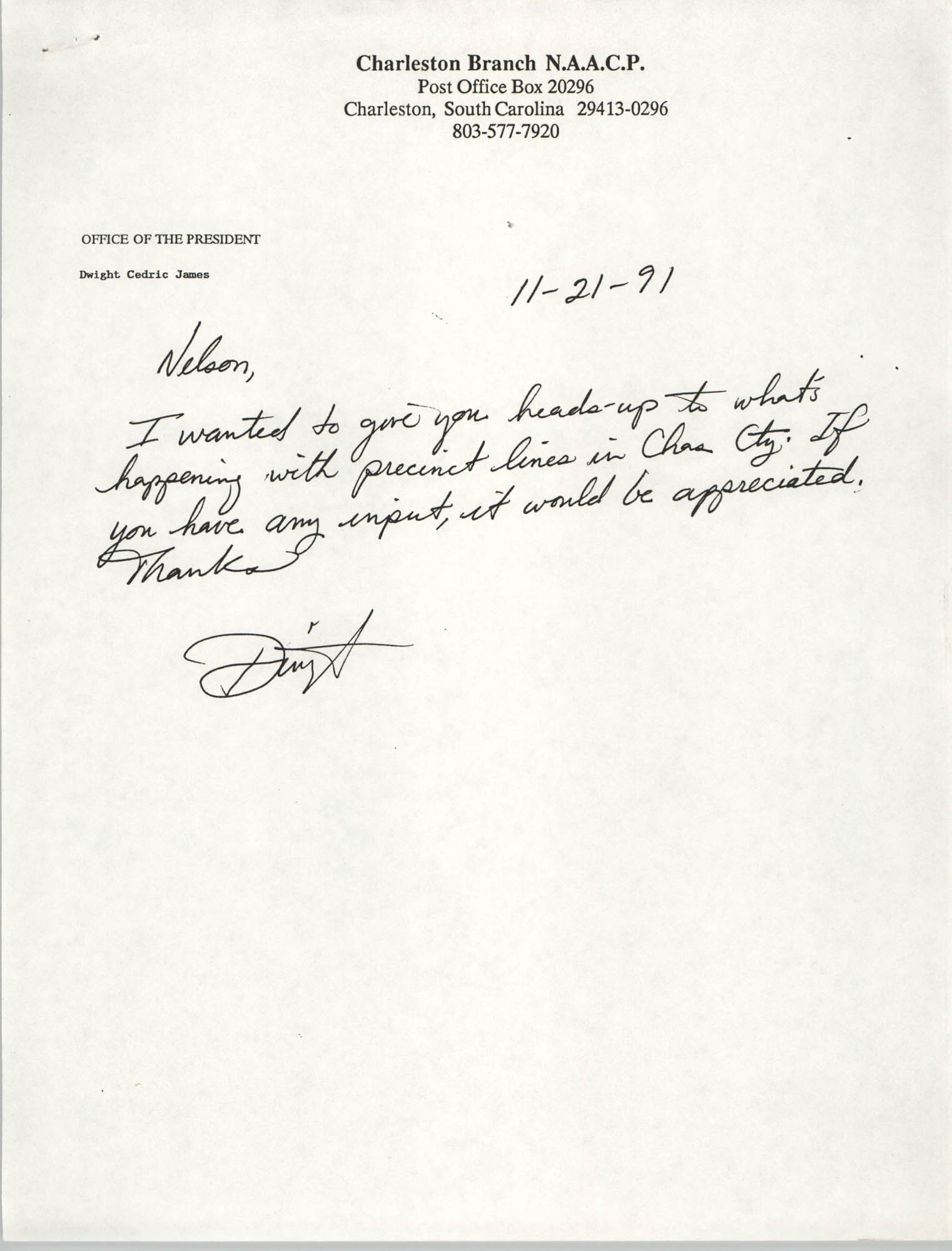 Letter from Dwight C. James to Nelson, November 21, 1991