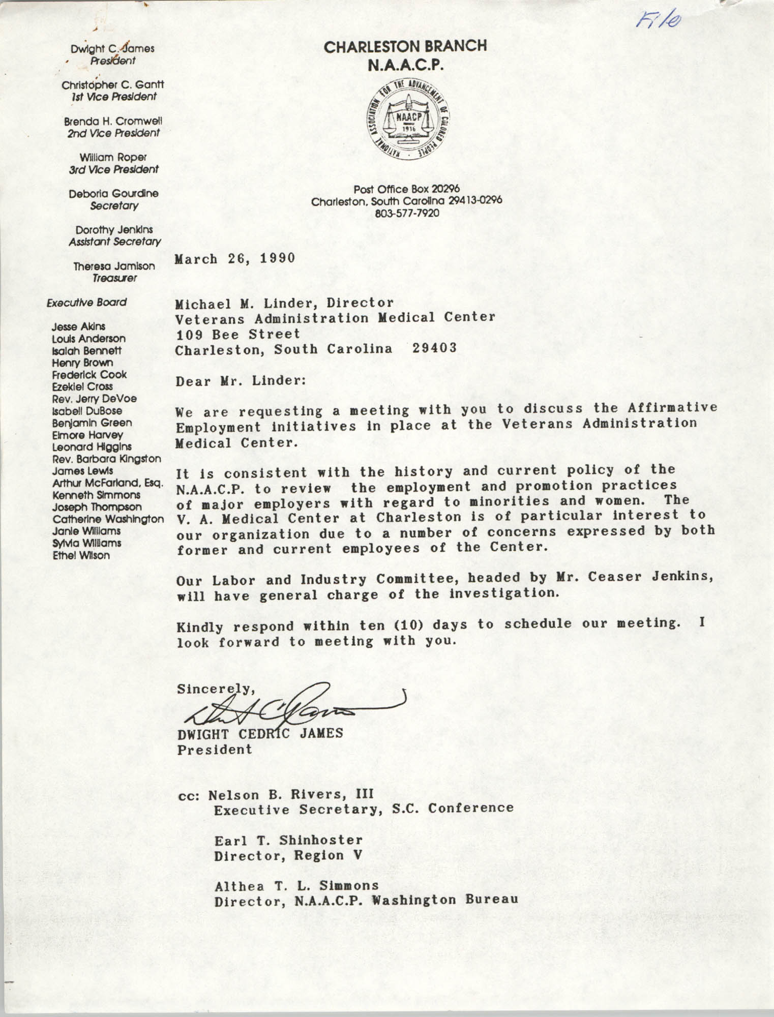 Letter from Dwight C. James to Michael M. Linder, March 26, 1990