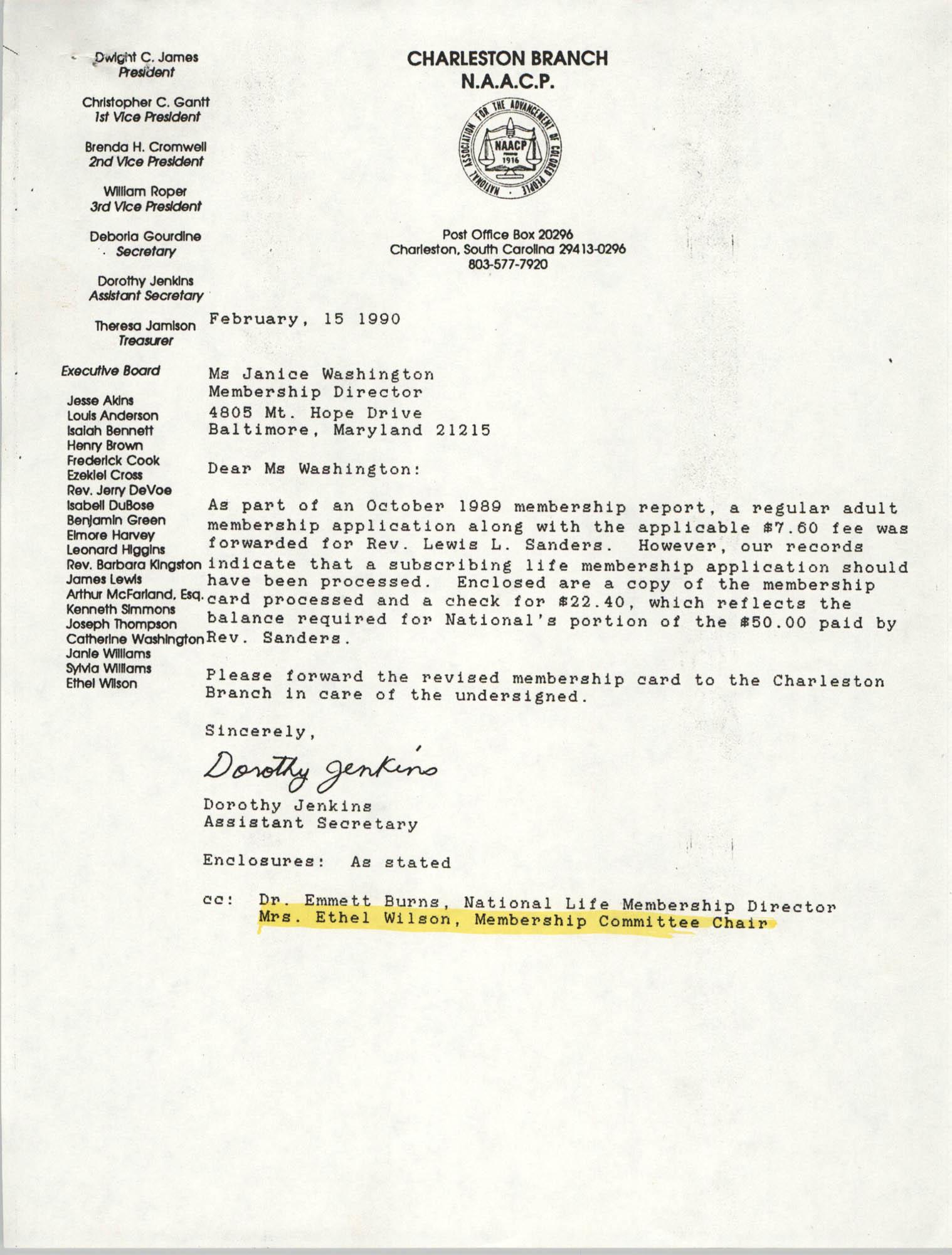 Letter from Dorothy Jenkins to Janice Washington, NAACP, February 15, 1990