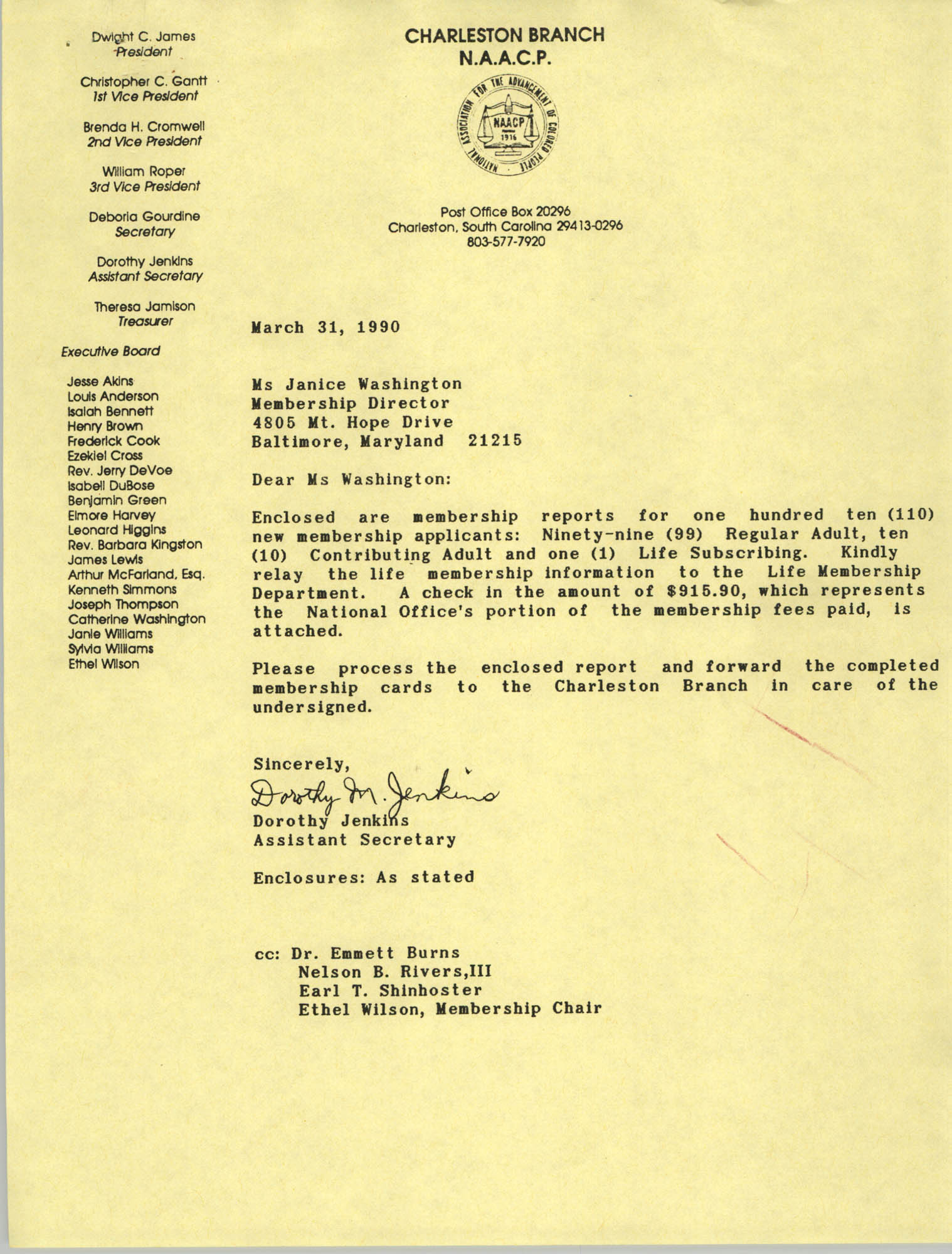 Letter from Dorothy Jenkins to Janice Washington, NAACP, March 31, 1990