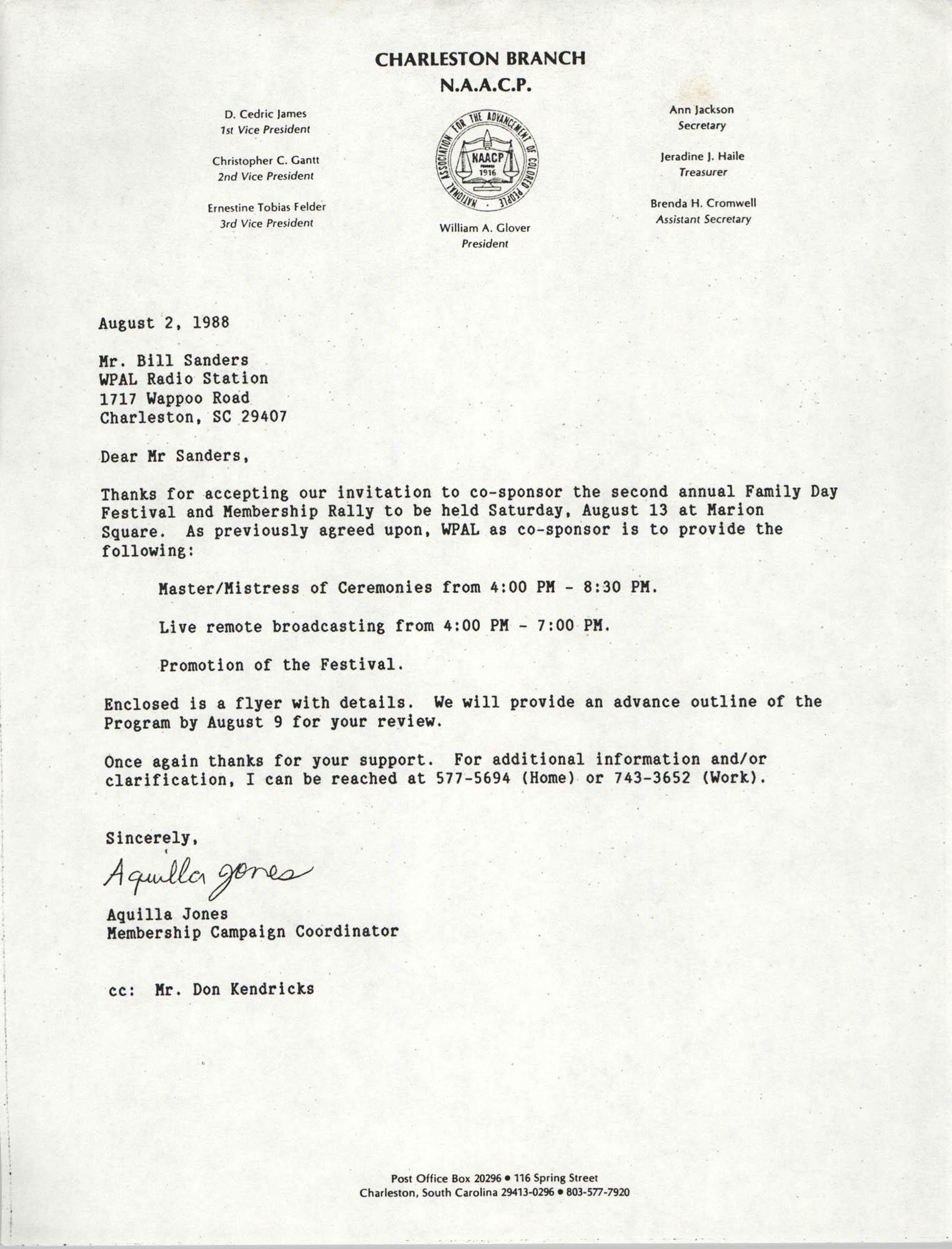 Letter from Aquilla Jones to Bill Sanders, August 2, 1988
