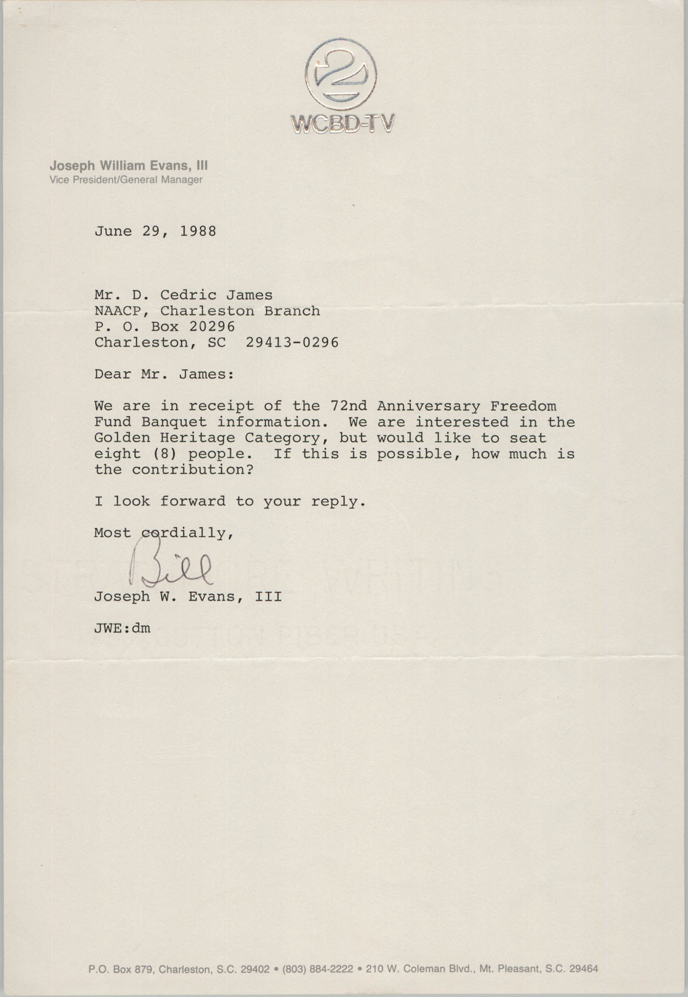 Letter from Joseph W. Evans, III to D. Cedric James, June 29, 1988