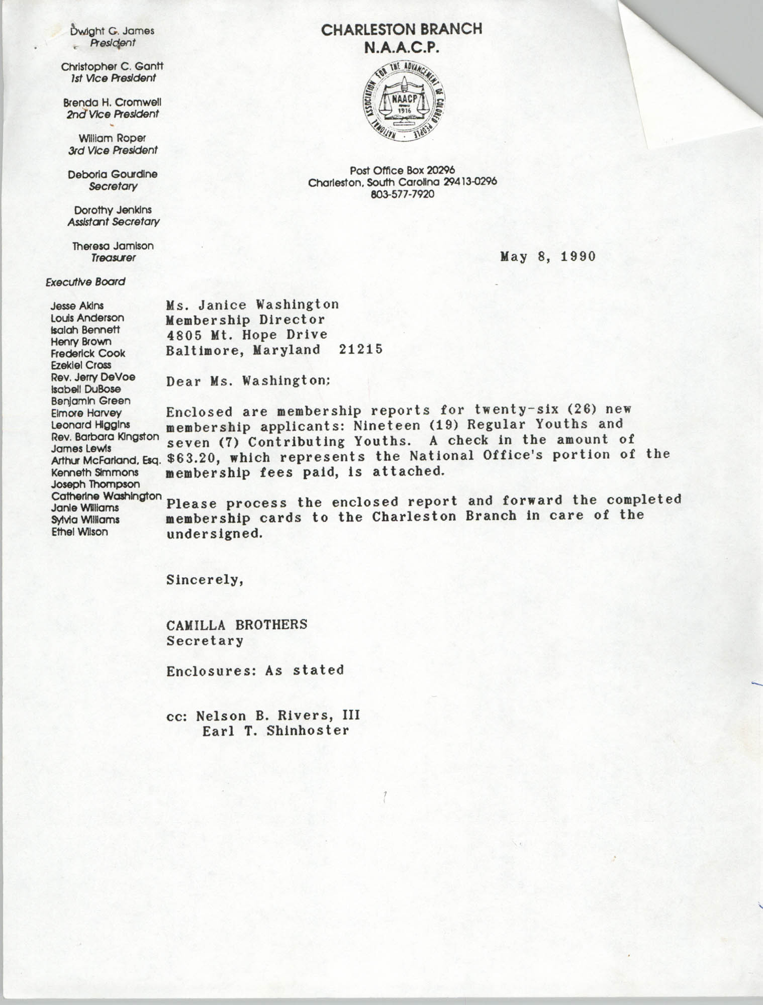 Letter from Camilla Brothers to Janice Washington, NAACP, May 8, 1990