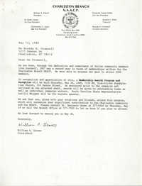 Letter from William A. Glover to Brenda H. Cromwell, May 12, 1988