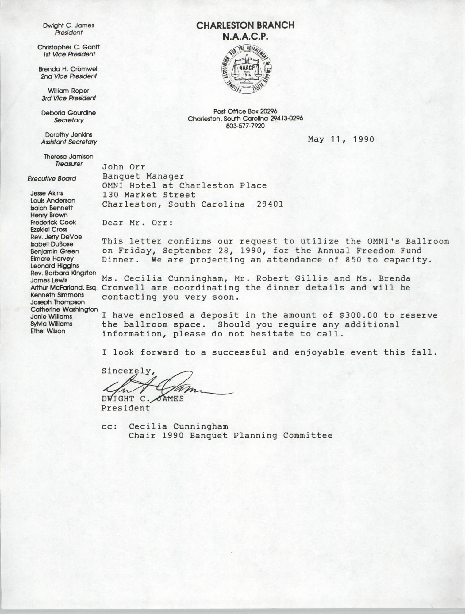 Letter from Dwight C. James to John Orr, May 11, 1990