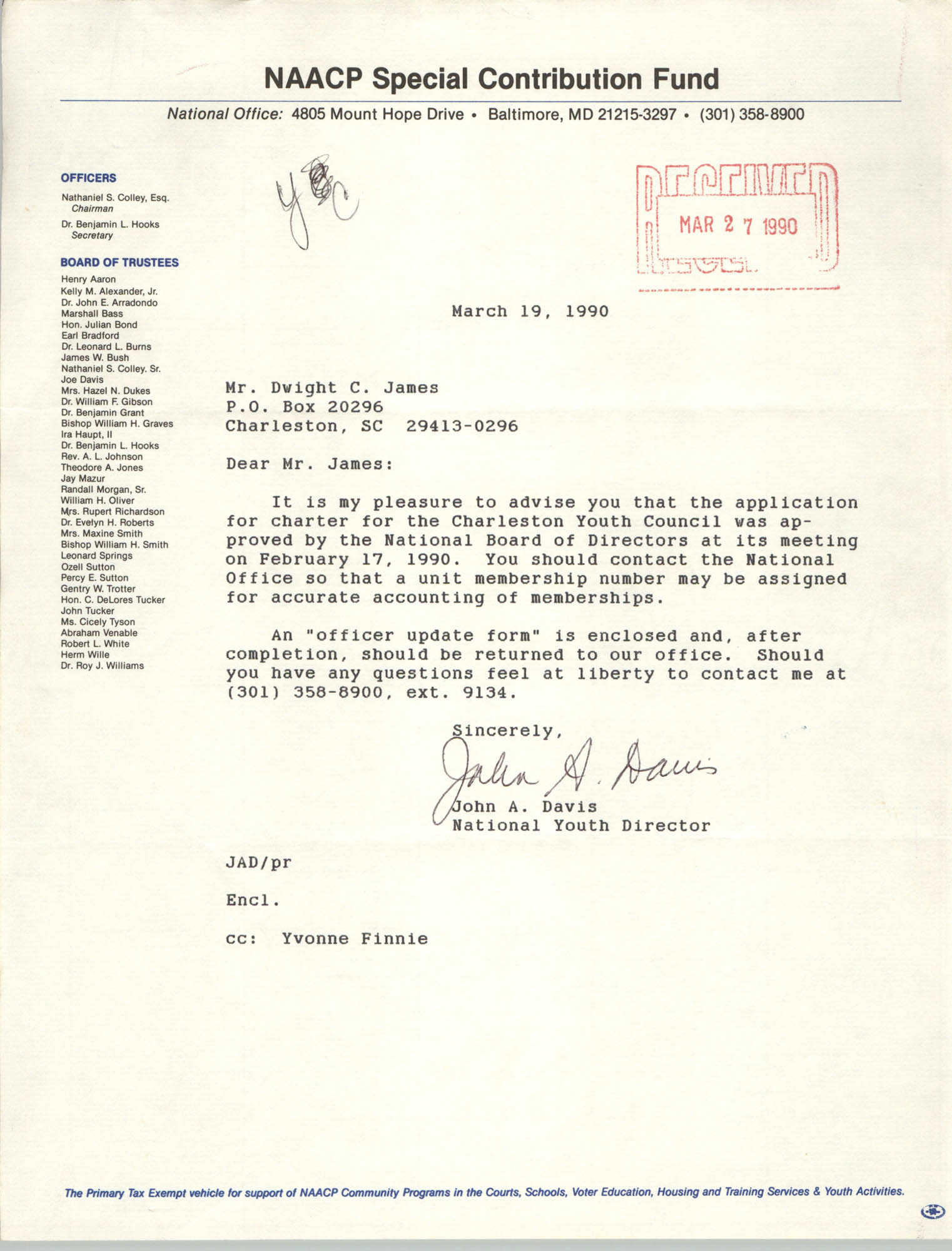 Letter from John A. Davis to Dwight C. James, March 19, 1990
