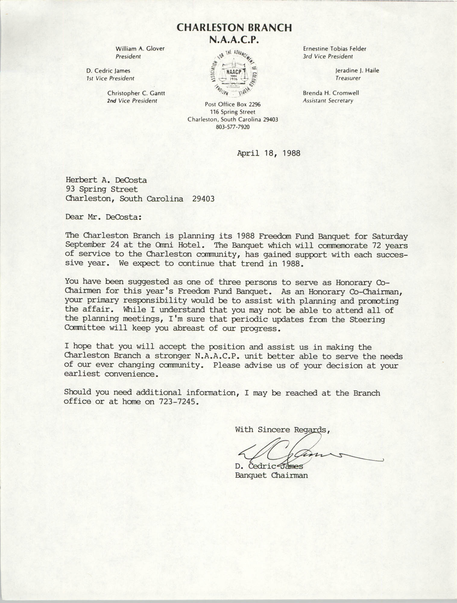 Letter from D. Cedric James to Herbert A. DeCosta, April 18, 1988