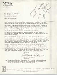 Letter from Arthenia L. Joyner to Sheila McMillan