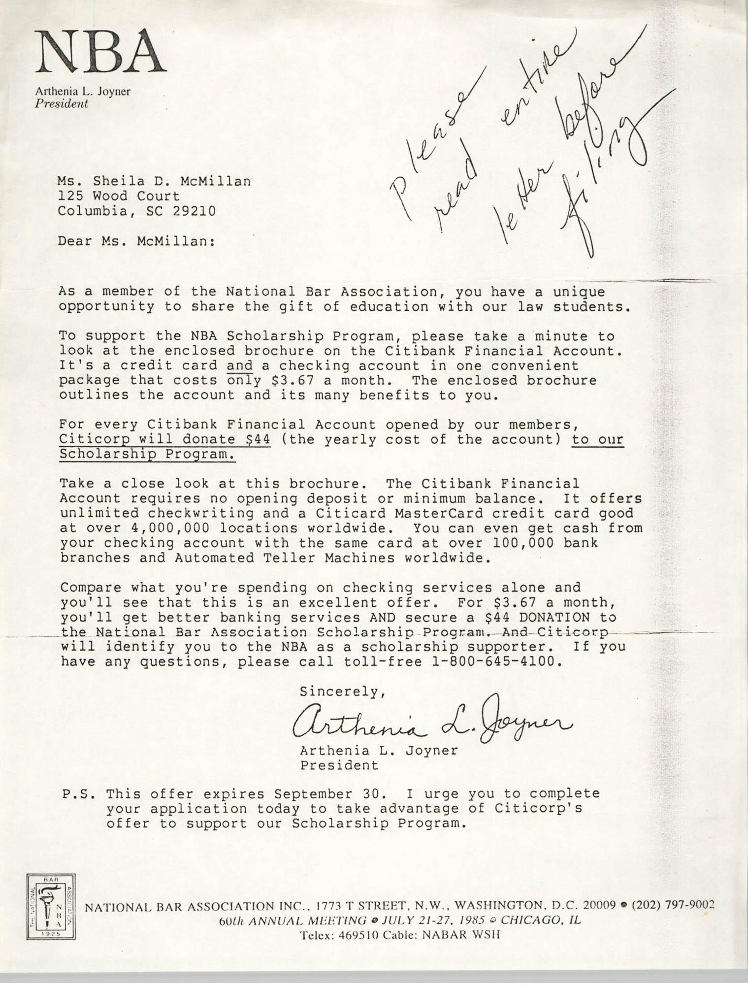 Letter from Arthenia L. Joyner to Sheila McMillan