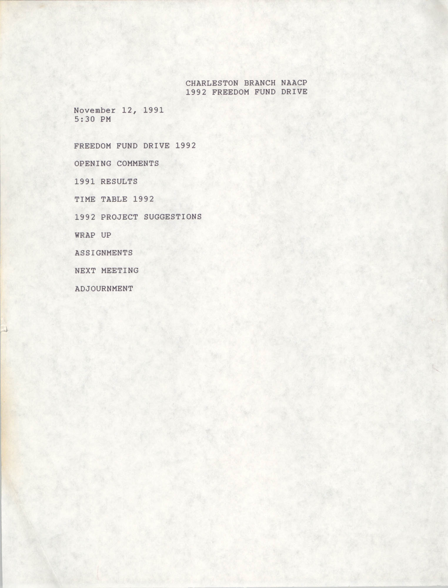 Agenda, Freedom Fund Drive, National Association for the Advancement of Colored People, November 12, 1991