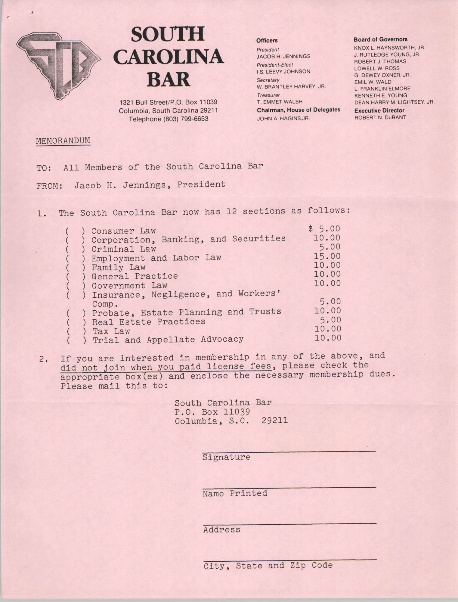 South Carolina Bar, Memorandum, Jacob H. Jennings