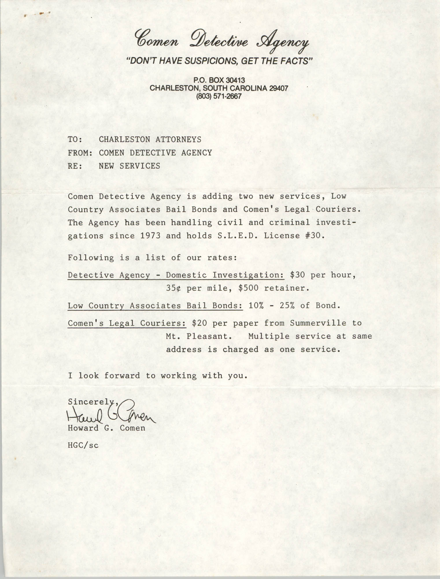 Letter from Howard G. Comen to Charleston Attorneys