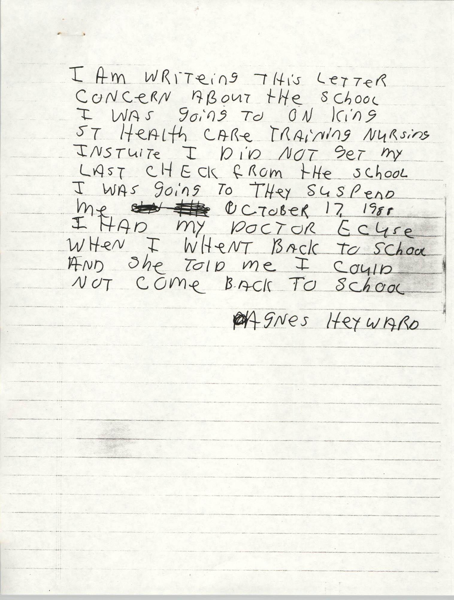 Handwritten letter by Agnes Heyward