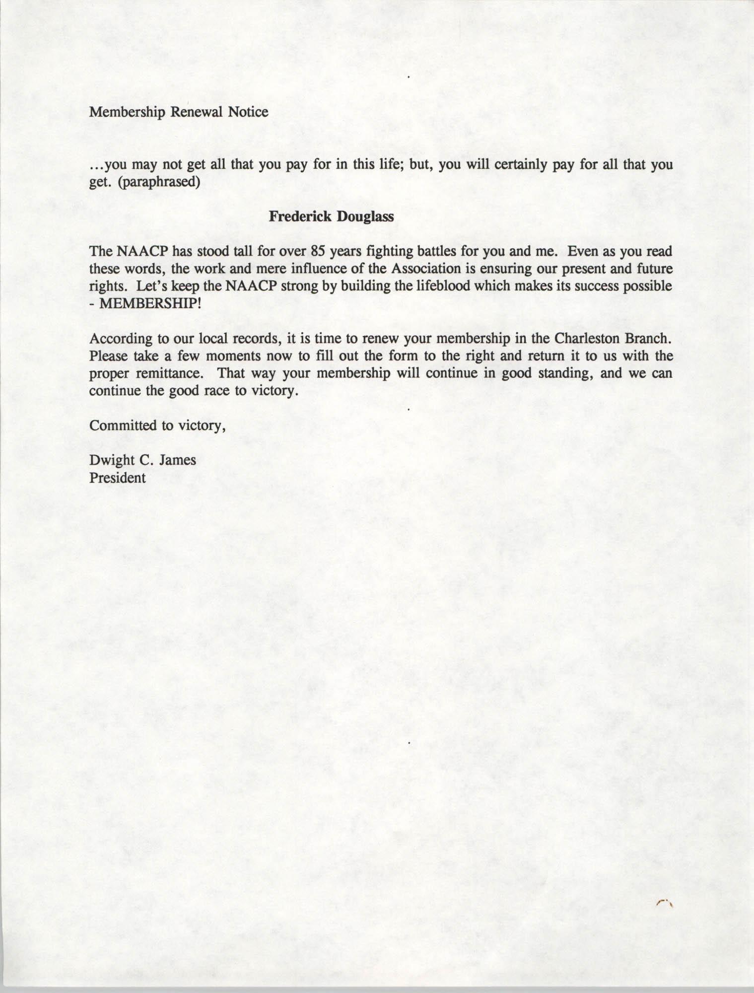 Membership Renewal Notice, Charleston Branch of the NAACP, Dwight C. James