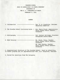 Agenda, Freedom School, Back-To-School/Stay-In-School Workshop, S.C. Conference of the NAACP, February 9, 1991