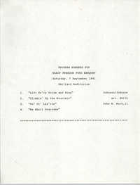 Program Numbers, NAACP Freedom Fund Banquet, September 7, 1991