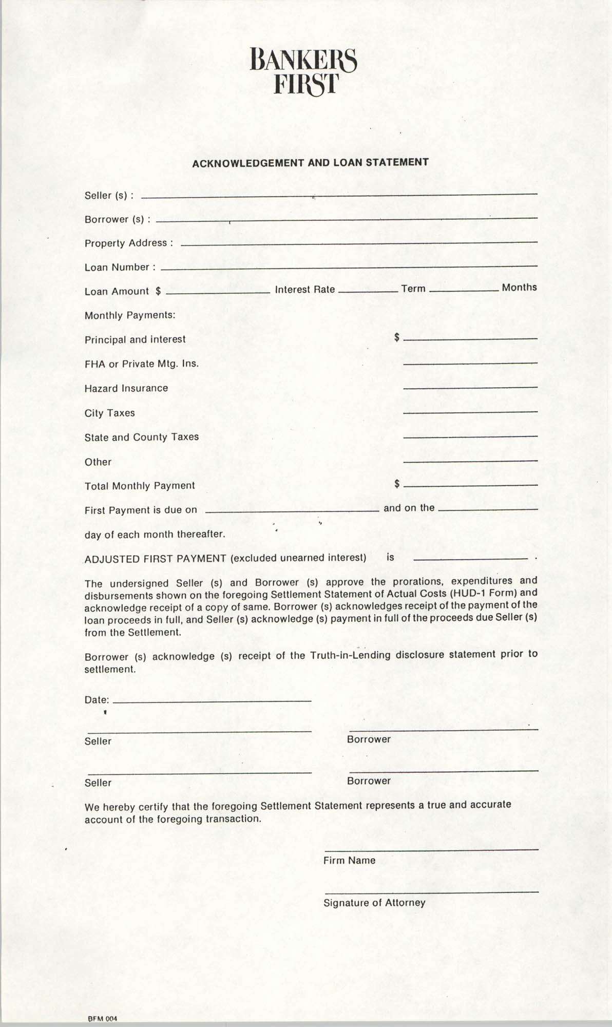 Acknowledgement and Loan Statement, Bankers First Mortgage Corporation/Bankers First Federal Savings & Loan Association