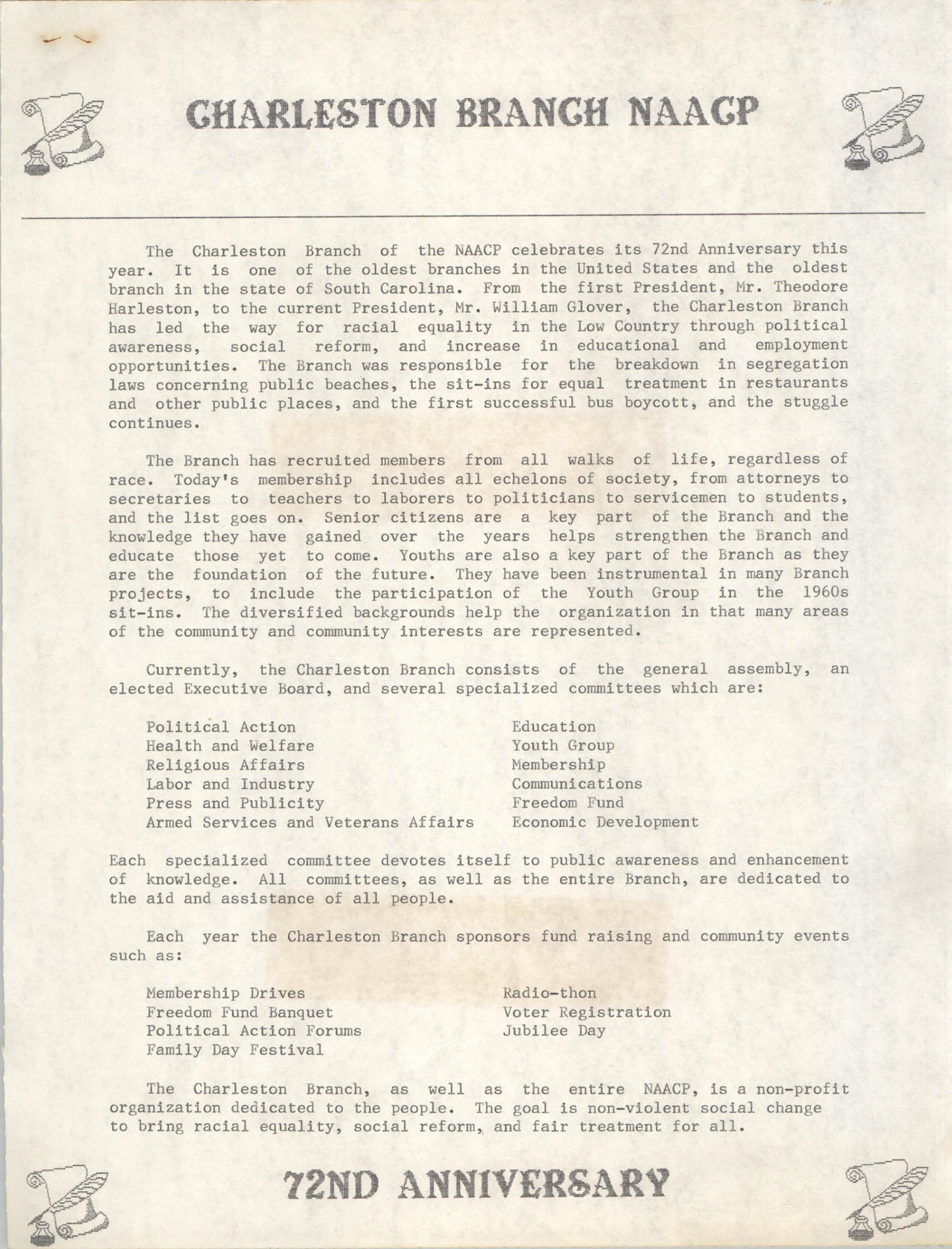 72nd Anniversary Flyer, National Association for the Advancement of Colored People