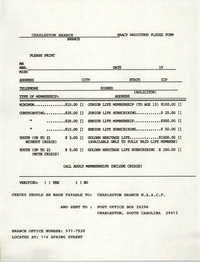 Pledge Form, National Association for the Advancement of Colored People Radiothon