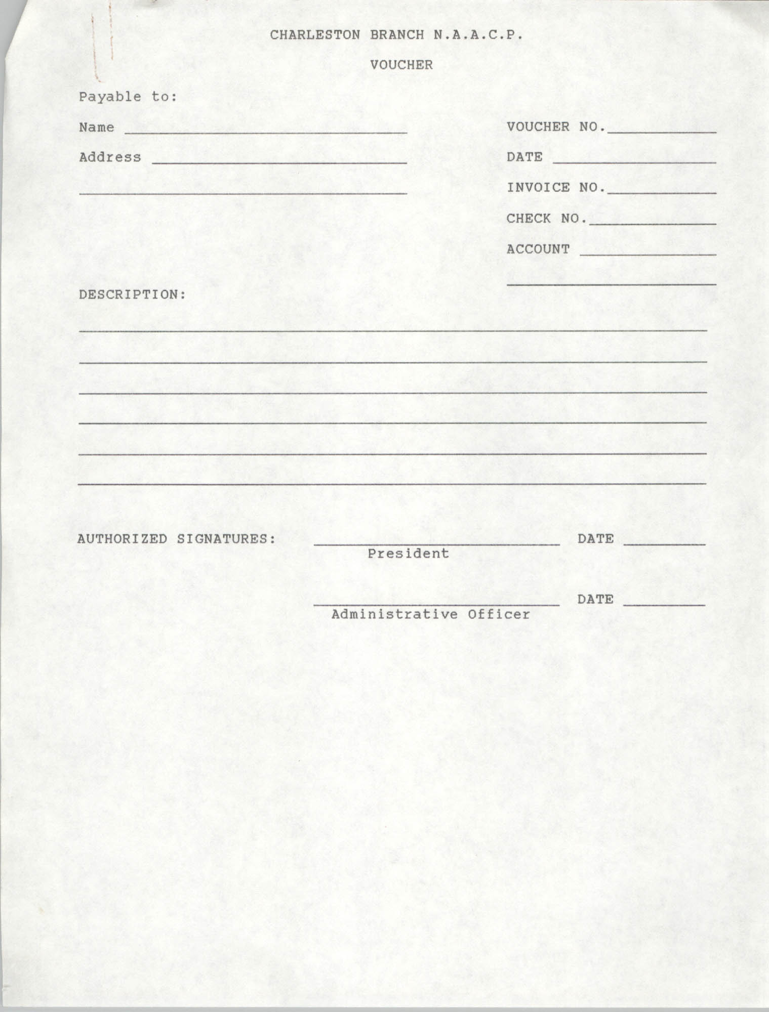 Blank Form, Voucher, National Association for the Advancement of Colored People