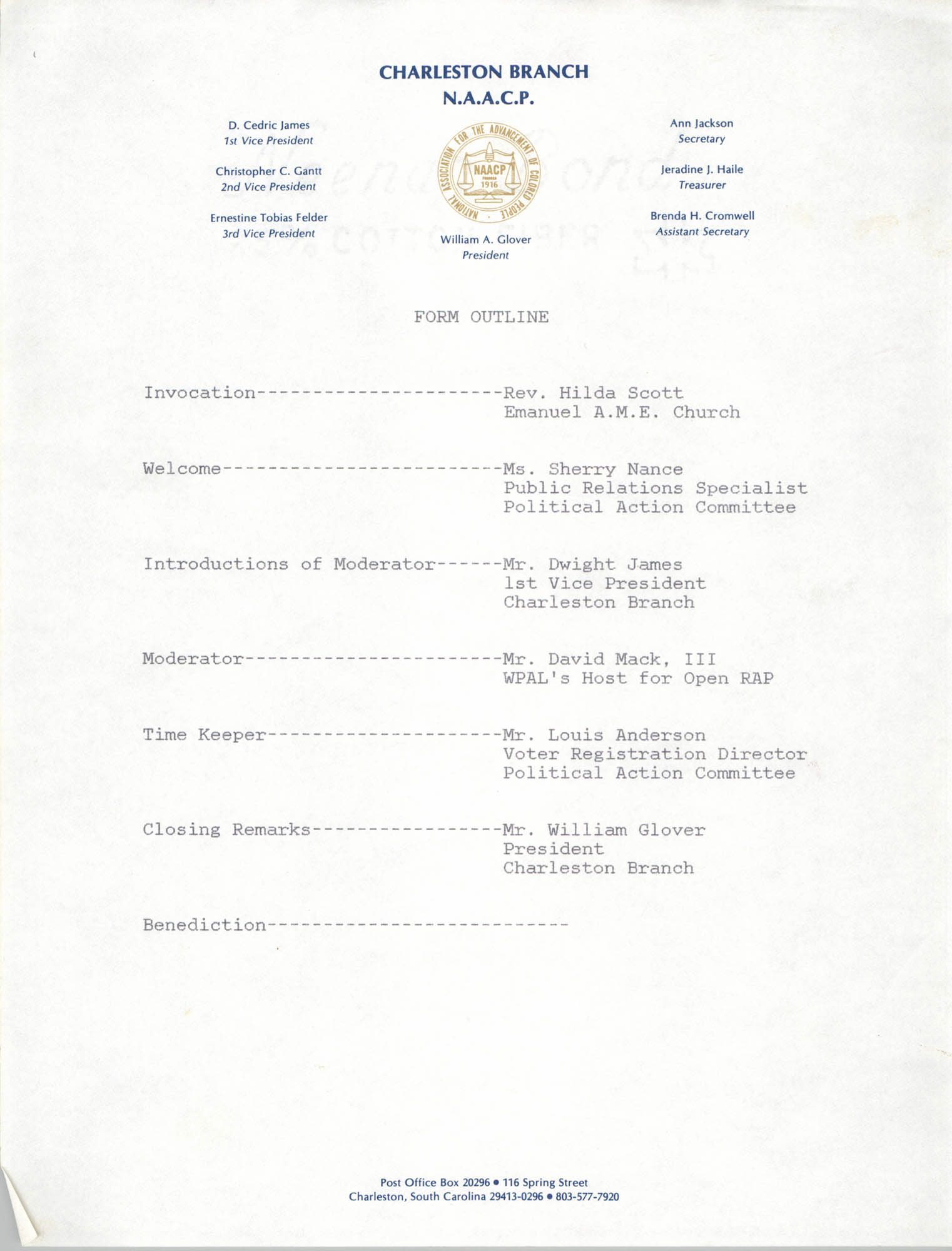 Form Outline, National Association for the Advancement of Colored People