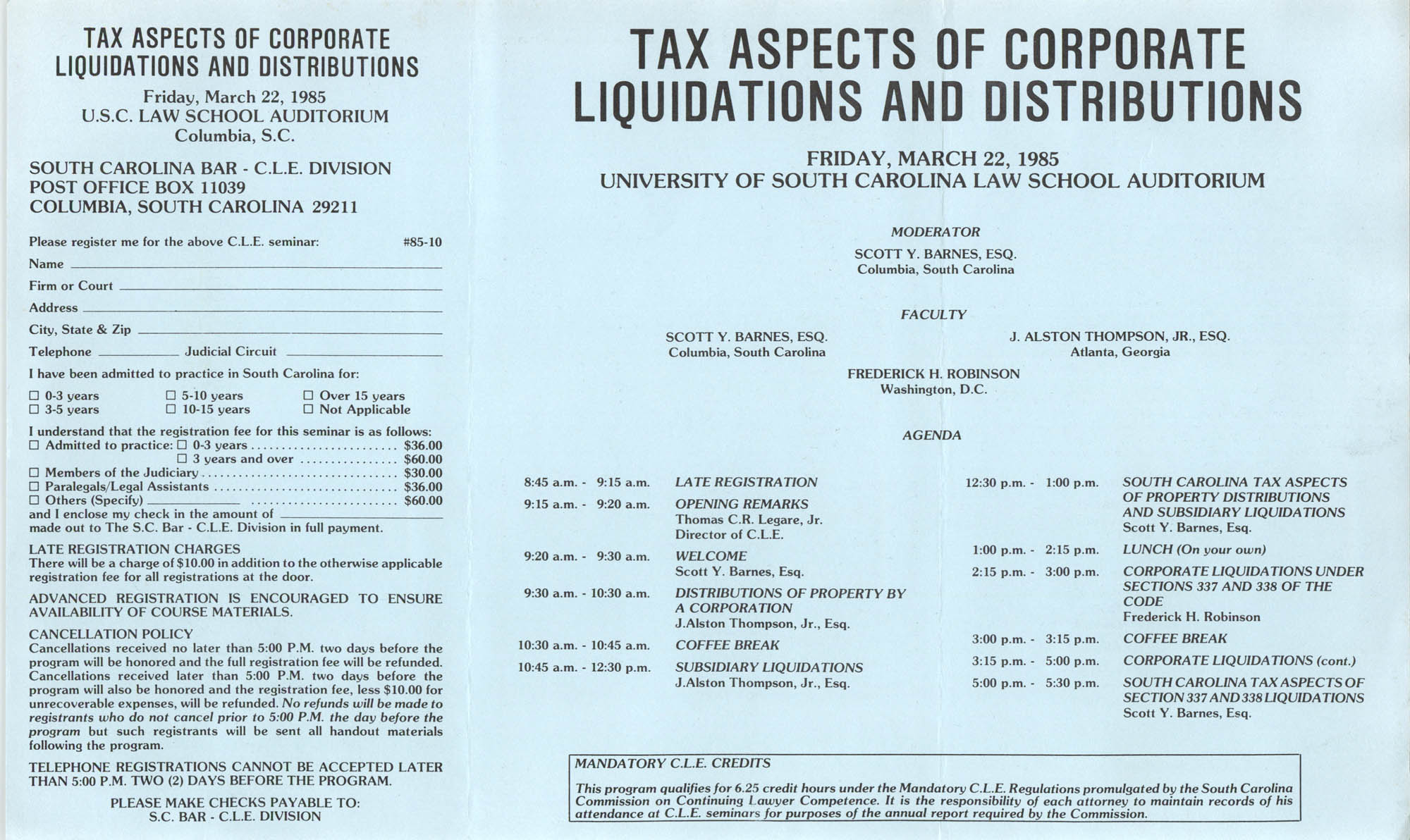 Tax Aspects of Corporate Liquidations and Distributions, Continuing Legal Education Pamphlet, March 22, 1985
