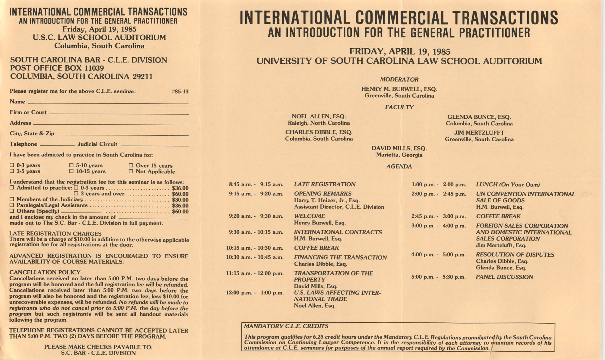 International Commercial Transactions, Continuing Legal Education Seminar Pamphlet, April 19, 1985