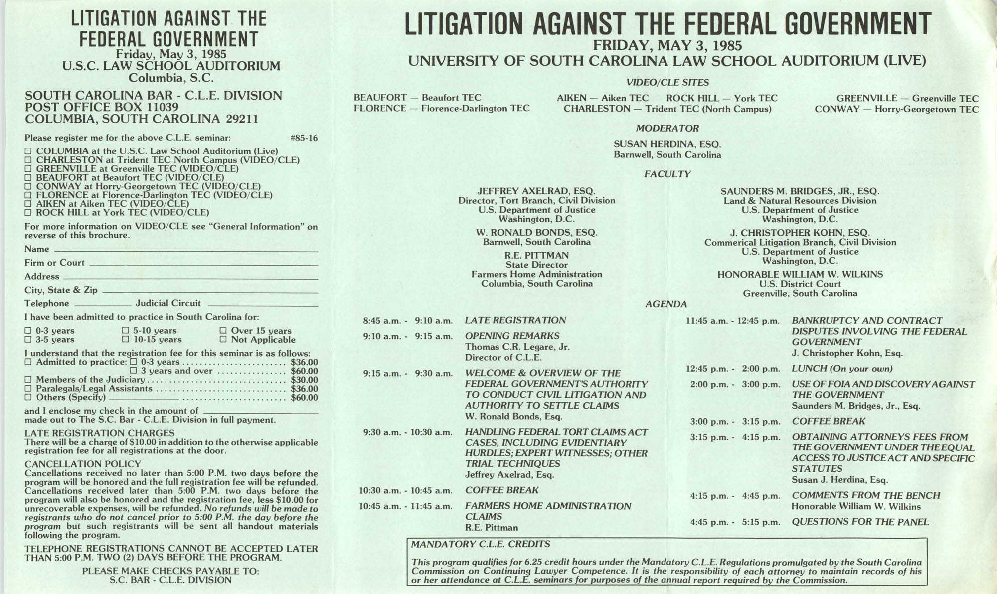 Litigation Against the Federal Government, Video/CLE Seminar Pamphlet, May 3, 1985