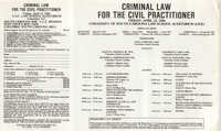 Criminal Law for the Civil Practitioner, Video/CLE Seminar Pamphlet, April 12, 1985