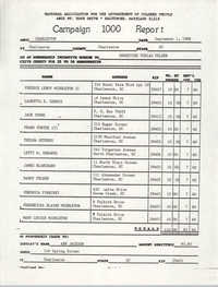 Campaign 1000 Report, Ernestine Tobias Felder, Charleston Branch of the NAACP, September 1, 1988