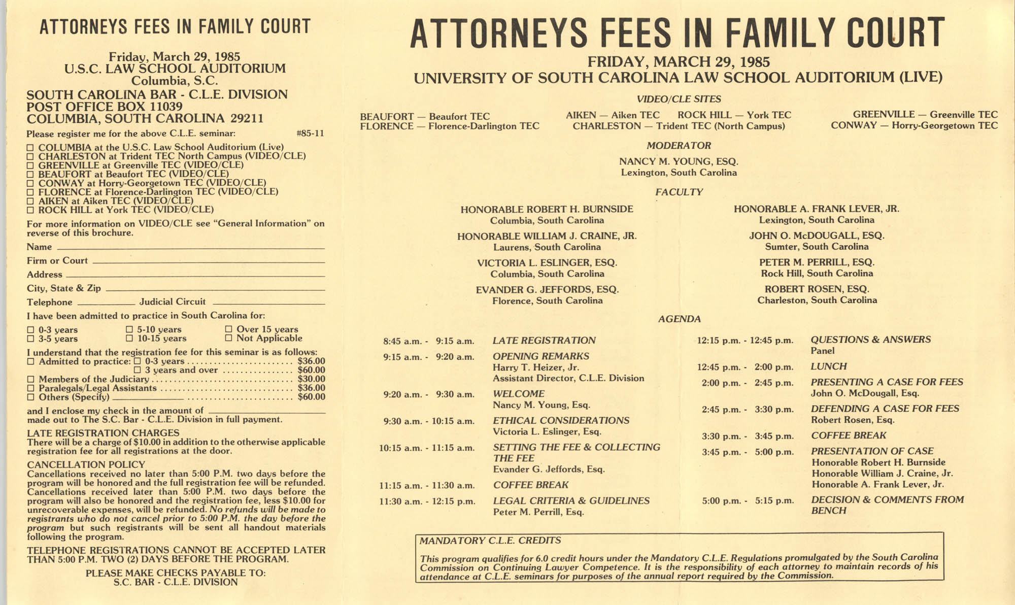 Attorney Fees in Family Court, Video/CLE Seminar Pamphlet, March 29, 1985