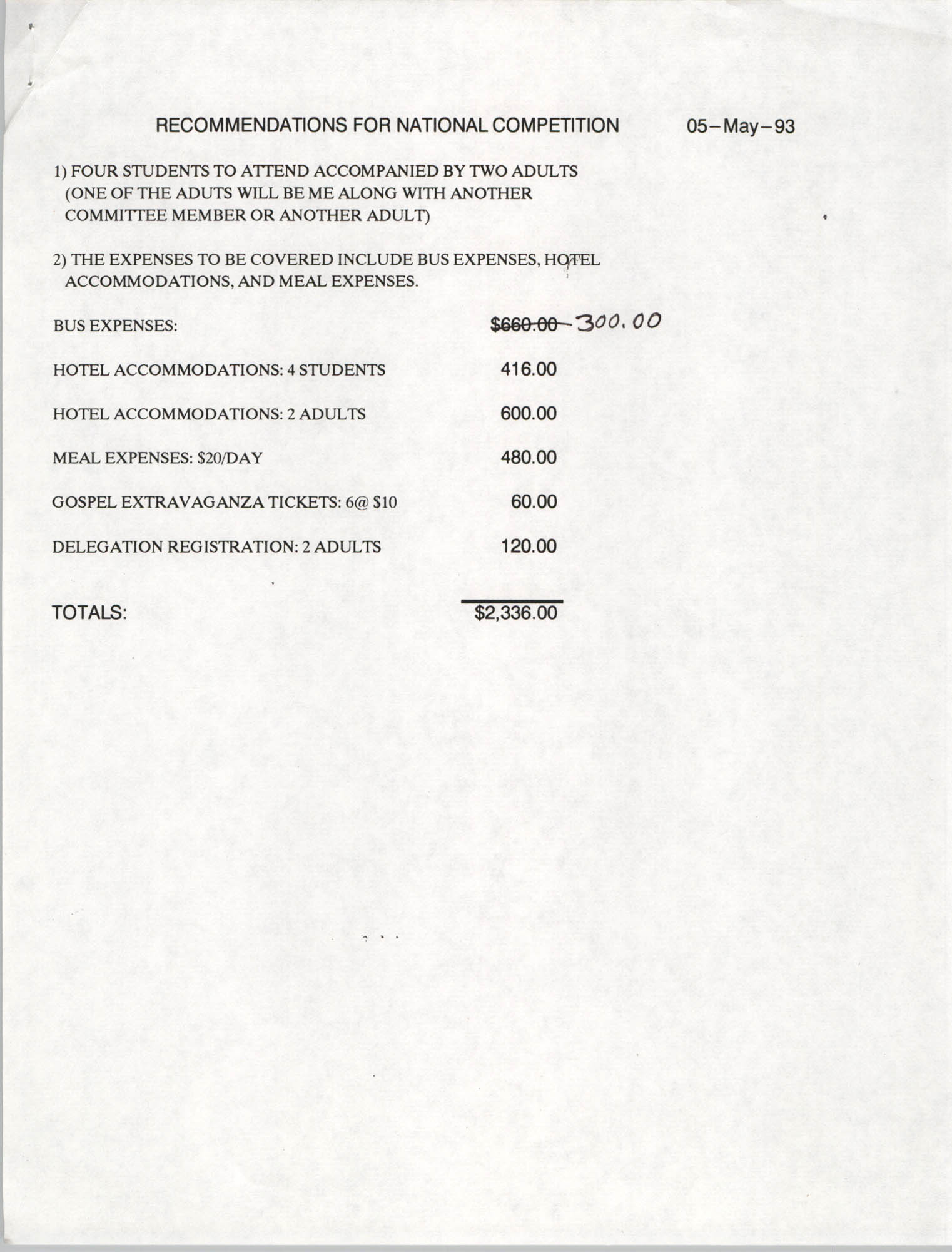 Recommendations for National Competition, NAACP, May 5, 1993
