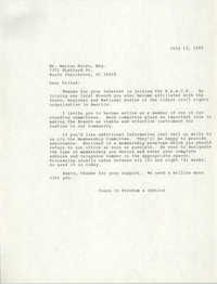 Letter to Marion Moise, July 13, 1989