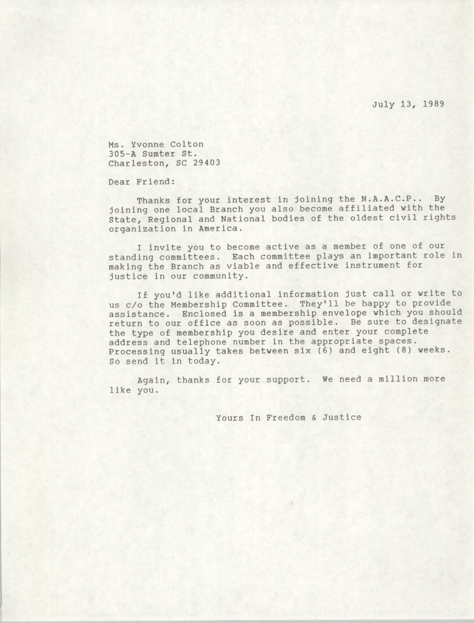 Letter to Yvonne Colton, July 13, 1989