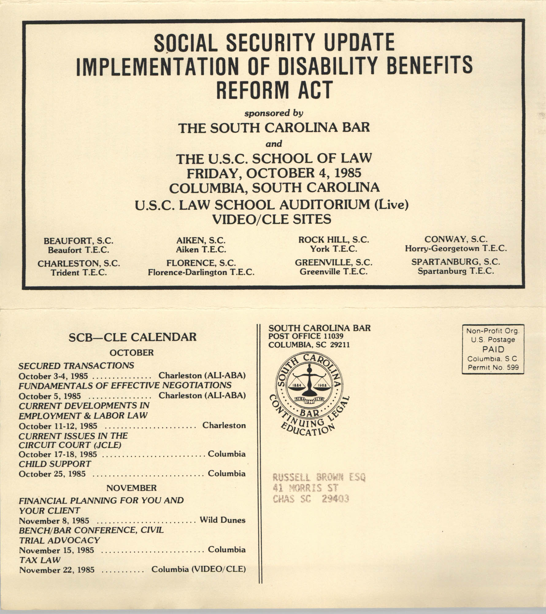 Social Security Update Implementation of Disability Benefits Reform Act, Video/CLE Seminar Pamphlet, October 4, 1985, Russell Brown