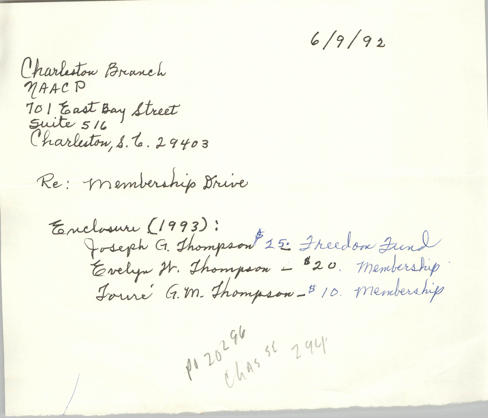 Note, Membership Drive, June 9, 1992
