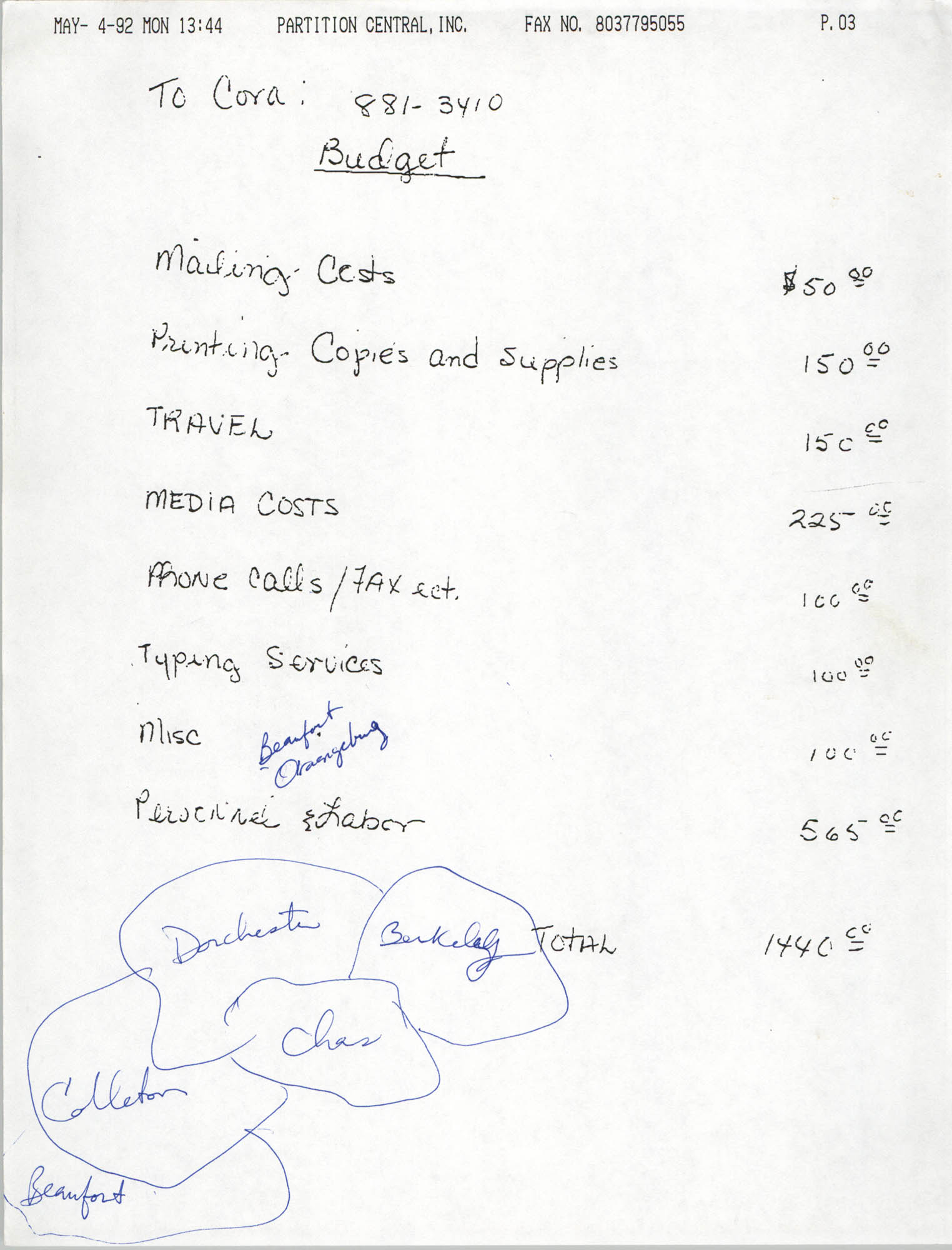 Handwritten Budget, May 4, 1992