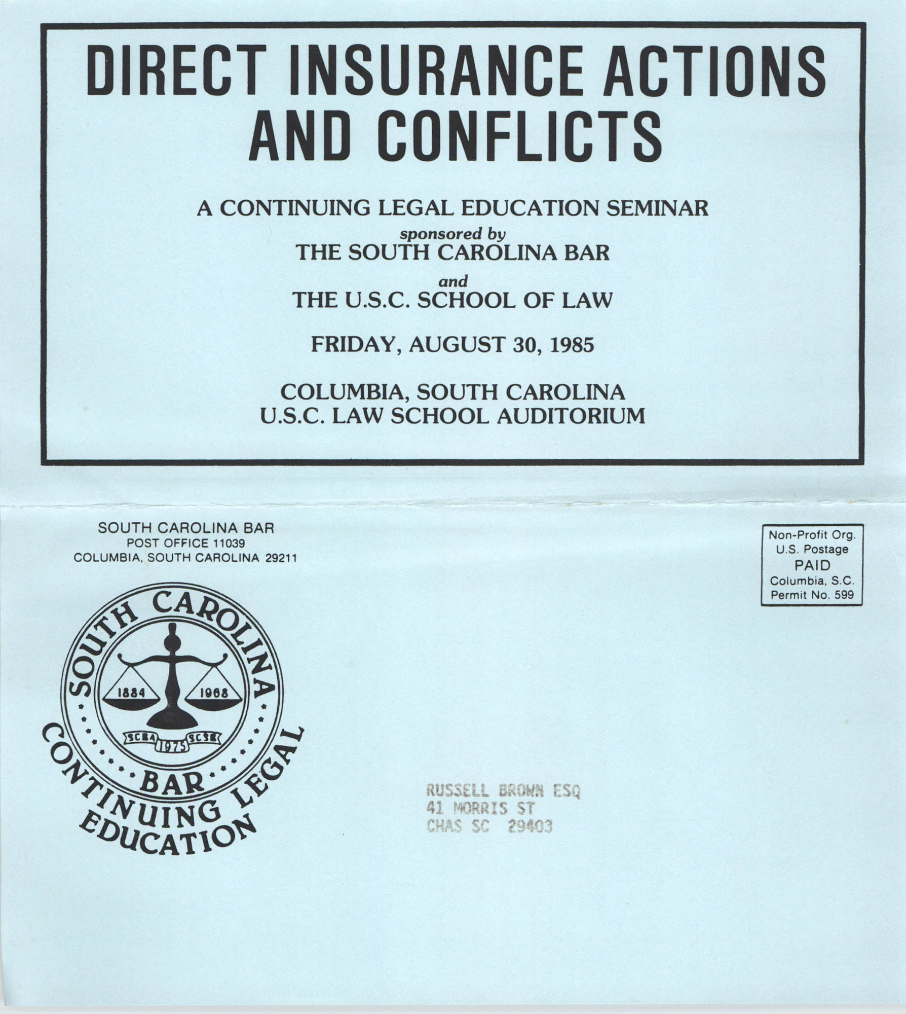 Direct Insurance Actions and Conflicts, Continuing Legal Education Seminar Pamphlet, August 30, 1985, Russell Brown