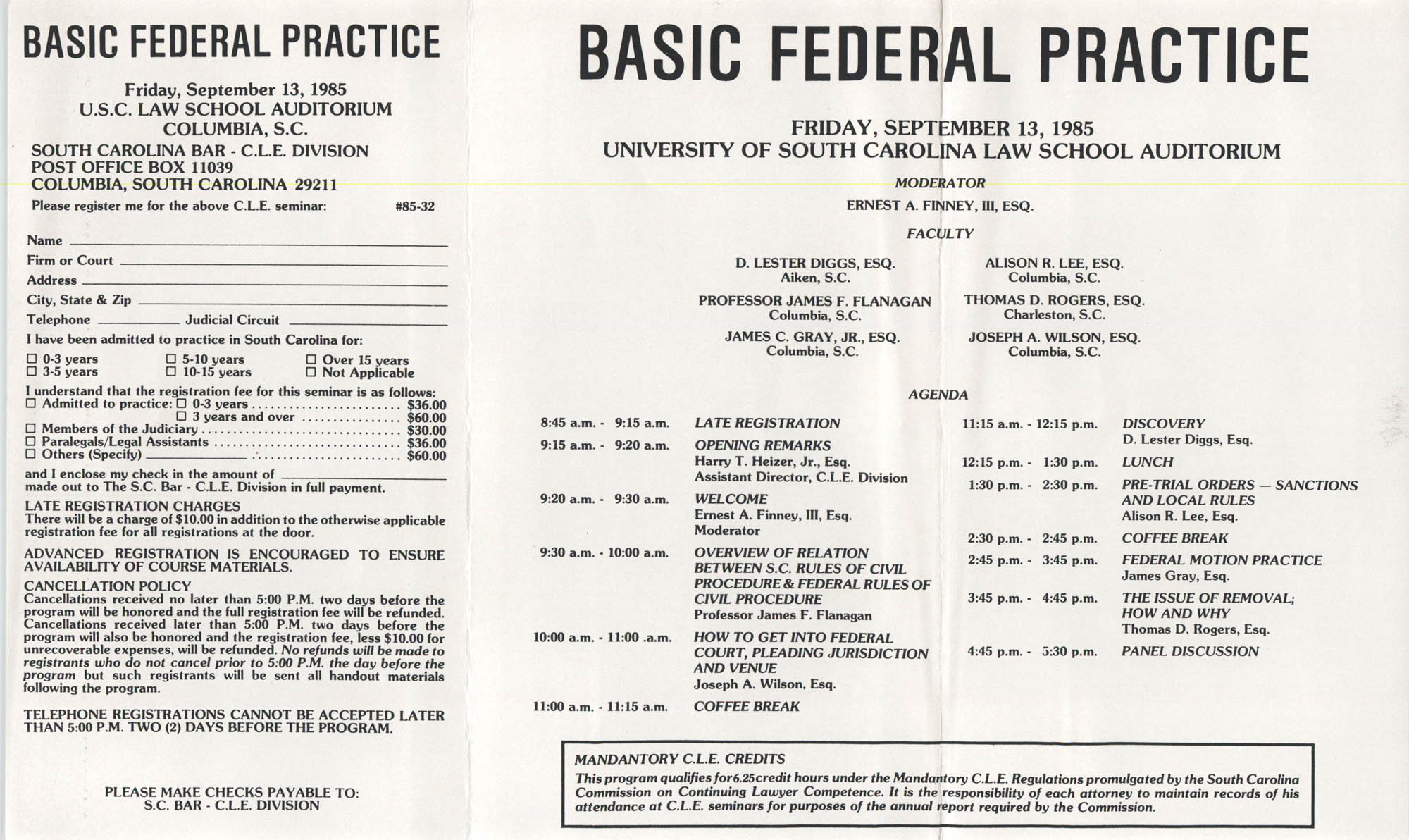 Basic Federal Practice, Pamphlet, September 13, 1985