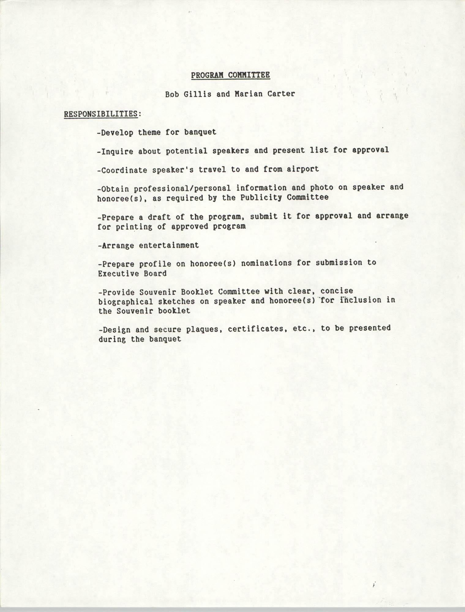 List of responsibilities, Program Committee, Bob Gillis and Marian Carter