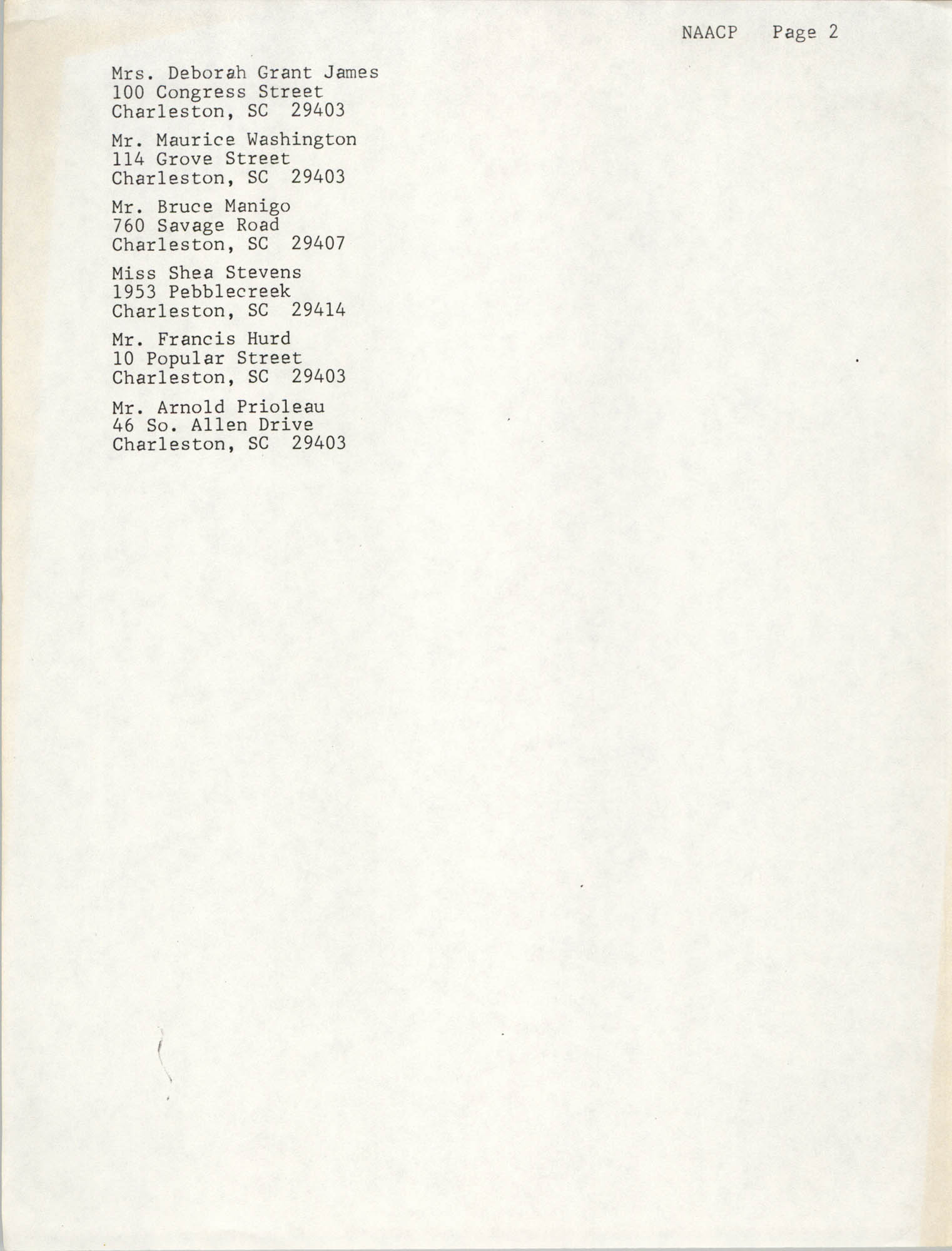 List of Names and Addresses