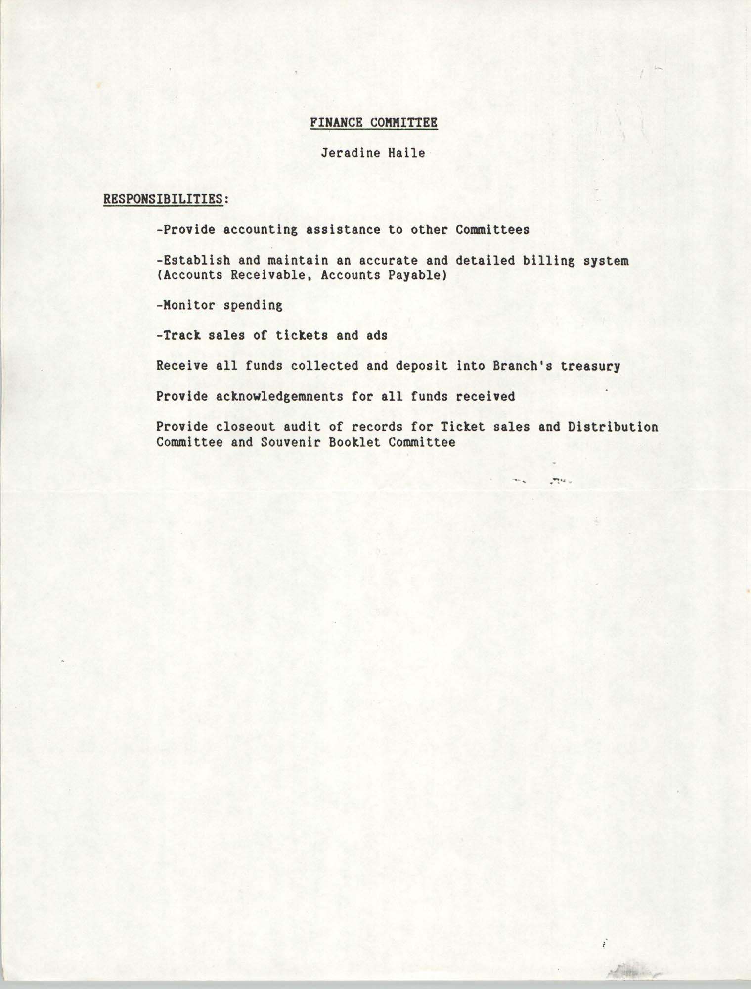 List of responsibilities, Finance Committee,  Jeradine Haile