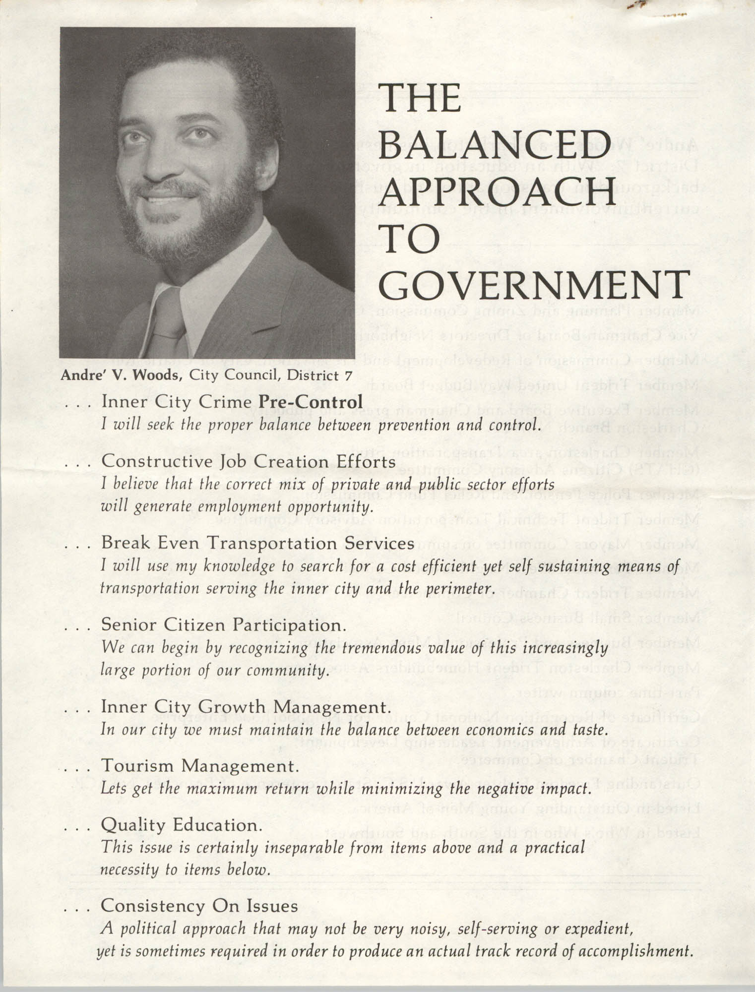 Candidate Platform, Andre V. Woods, District 7, The Balanced Approach to Government
