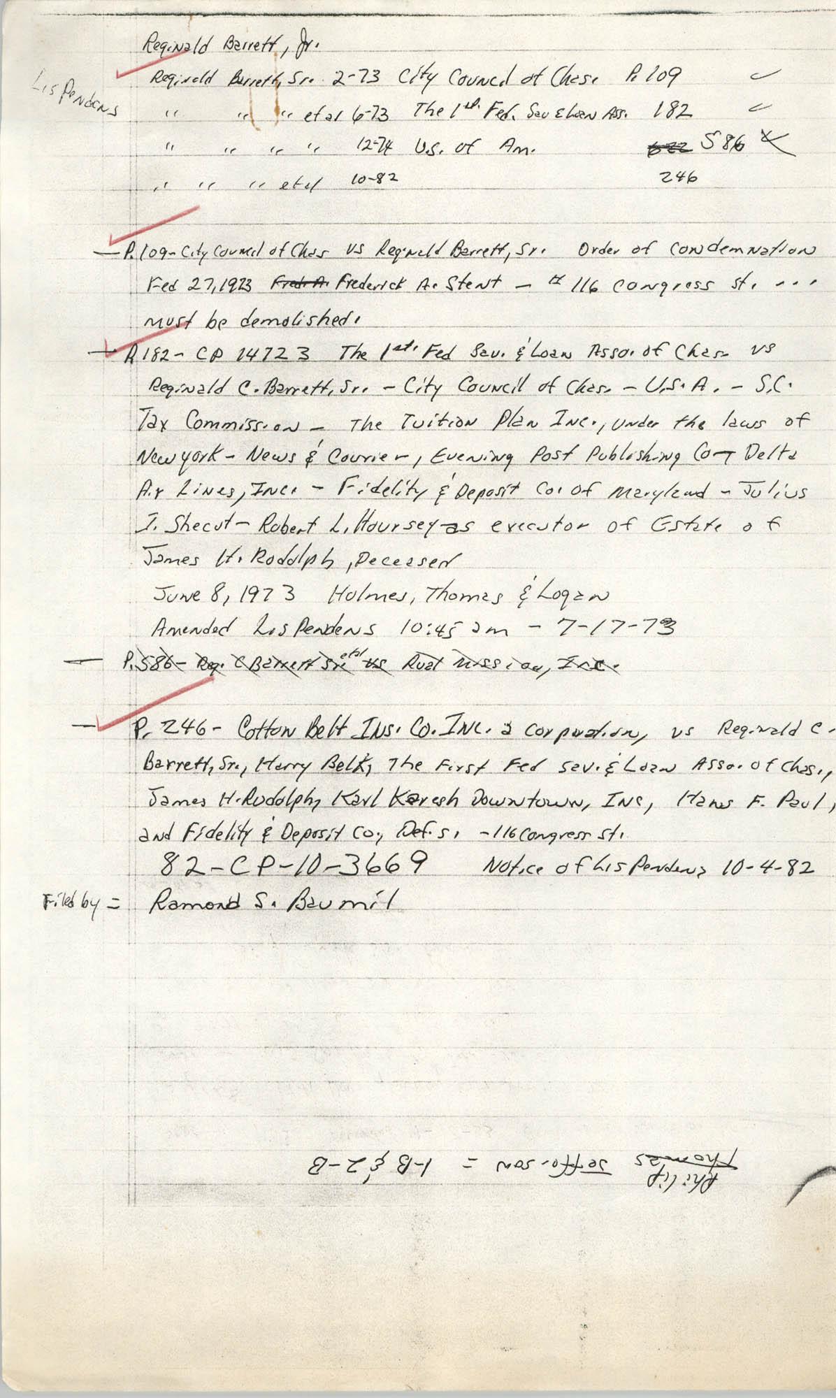 Legal notes,  Cotton Belt Insurance Company vs. Reginald C. Barrett Sr., et al.