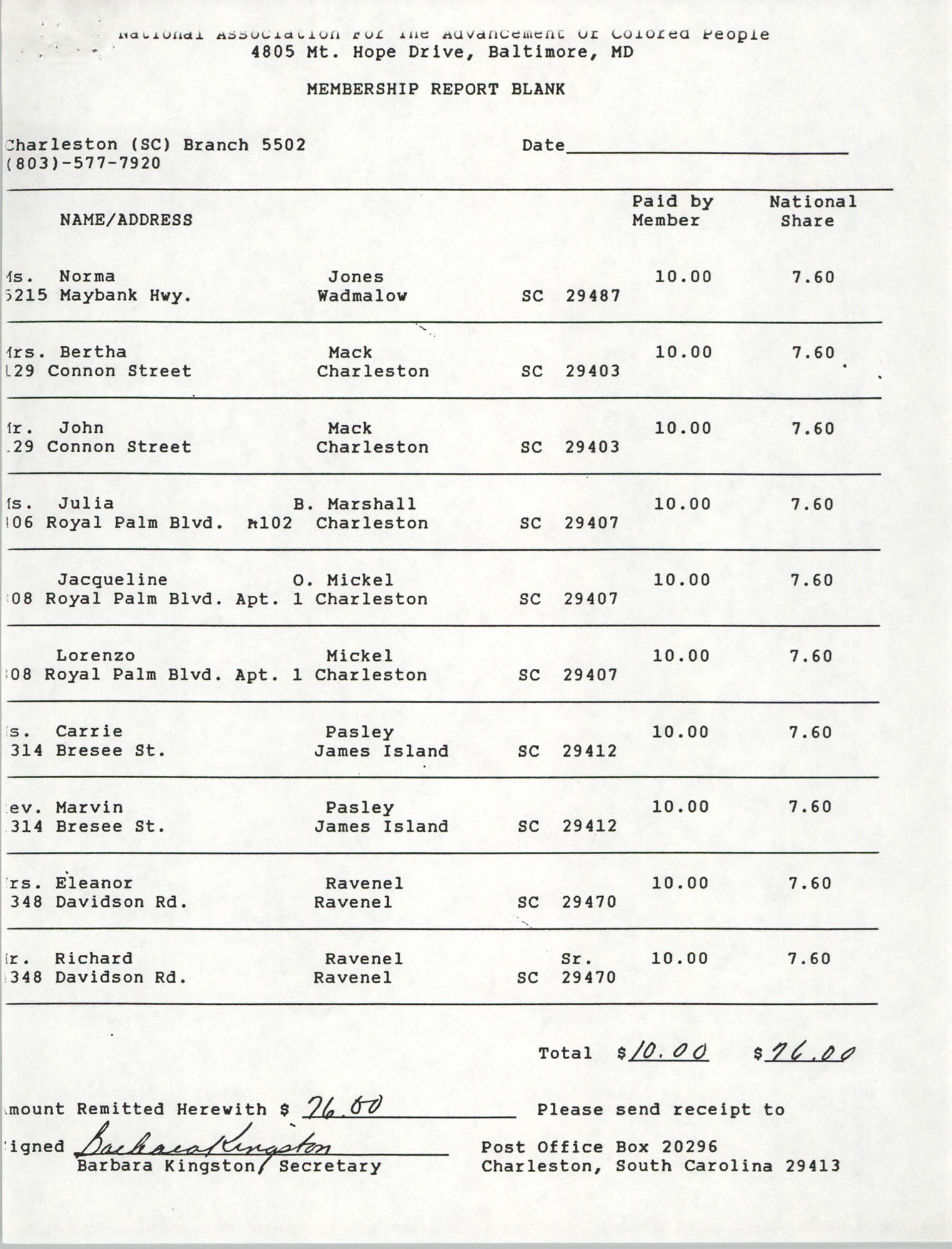 Membership Report Blank, Charleston Branch of the NAACP, Barbara Kingston