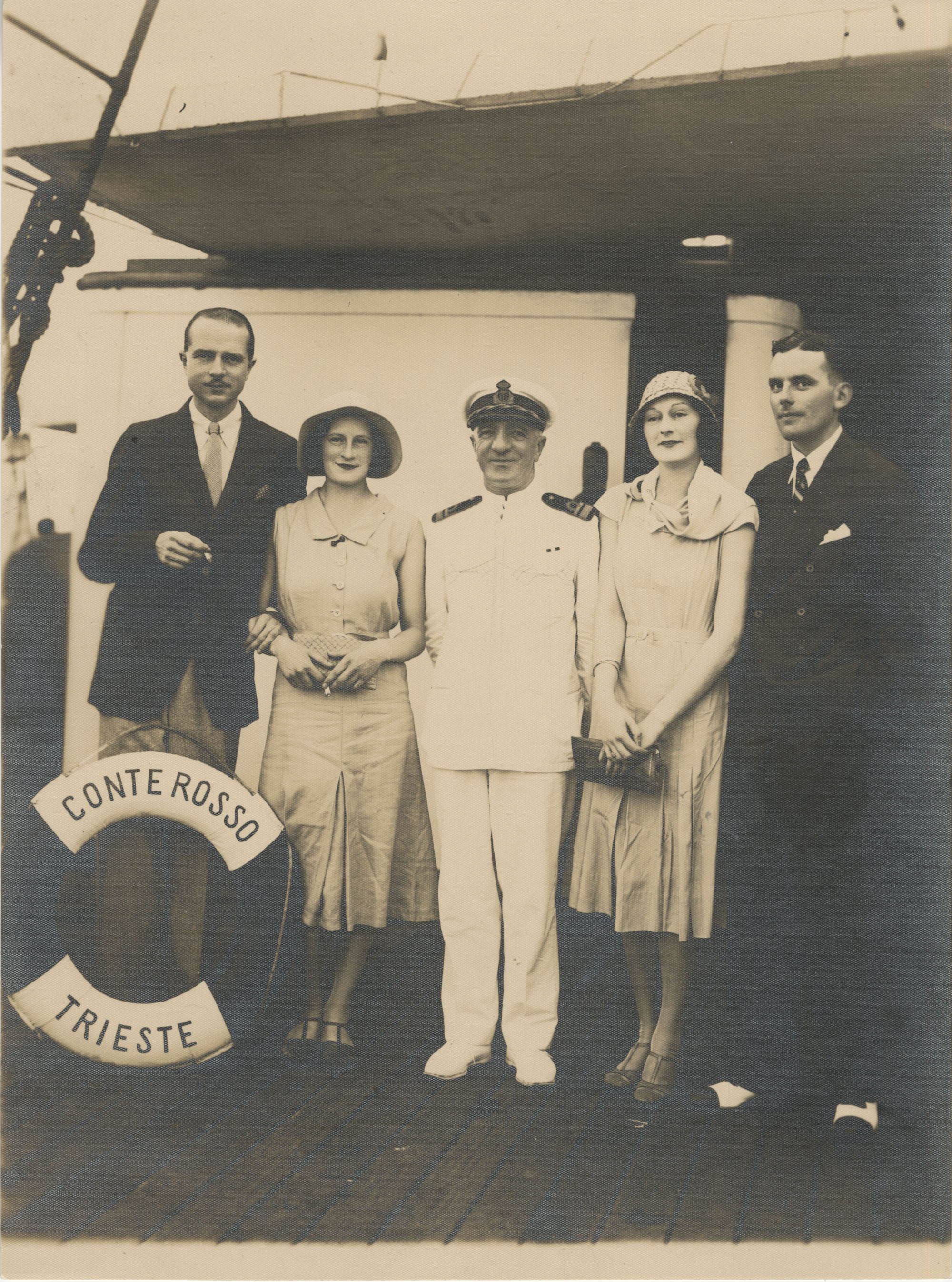 Mario Pansa and friends aboard the S.S. Conte Rosso